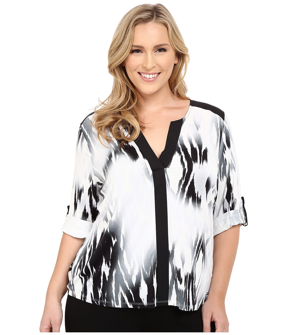 Calvin Klein Plus Plus Size Printed Roll Sleeve V Neck Black Combo Womens Blouse