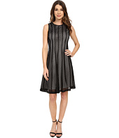 Calvin Klein - Fit & Flare Mesh Stripe Dress