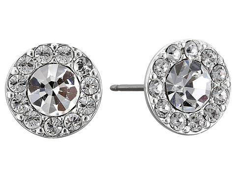 LAUREN Ralph Lauren Small Round Pave Stud Pierced Earrings - Silver/Crystal