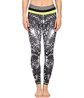 Pink Lotus - Floral Burst Locate Printed Leggings with Contrast Band