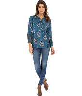 Lucky Brand - Paisely Print Mixed Fabric Henley