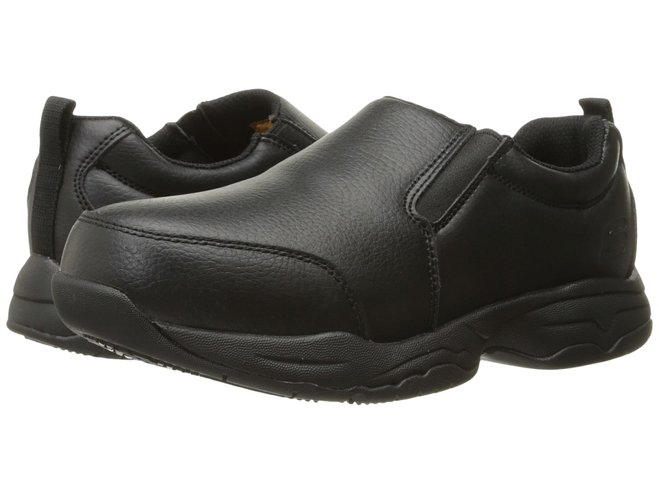 SKECHERS Work Felton Calpet Black Leather Womens Slip on Shoes