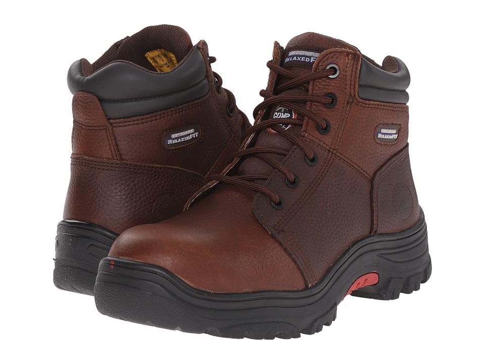 SKECHERS Work Burgin Dark Brown Pitstop Mens Lace up Boots