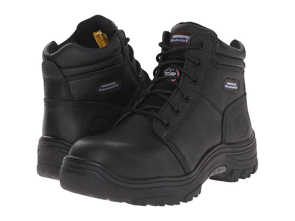 SKECHERS Work Burgin Black Pitstop Oiled Mens Lace up Boots