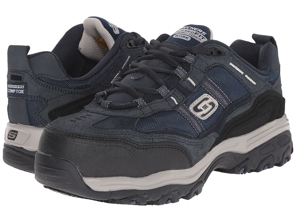 SKECHERS Work Dlite SR Tolland Navy Blue Suede Womens Lace up casual Shoes