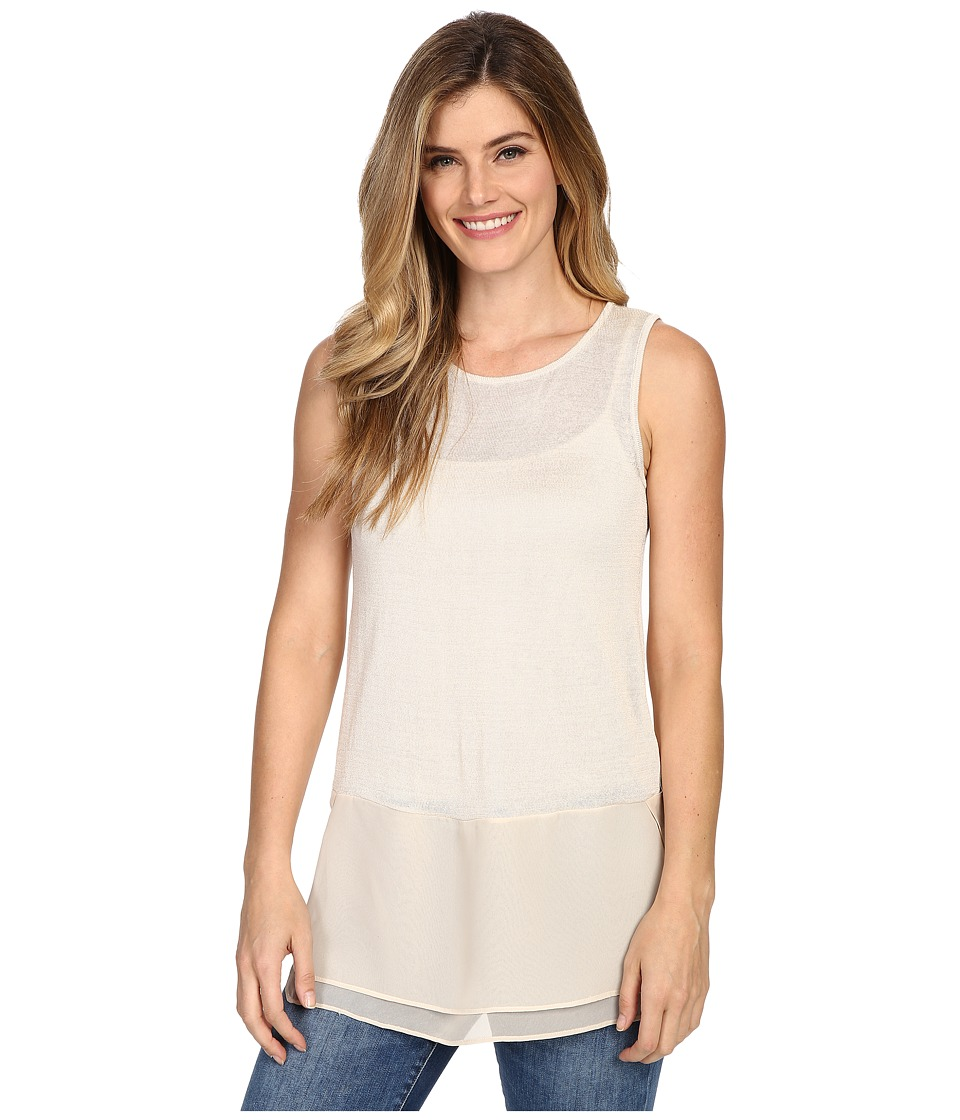 NICZOE Chiffon Trim Tank Top Sandshell Womens Sleeveless