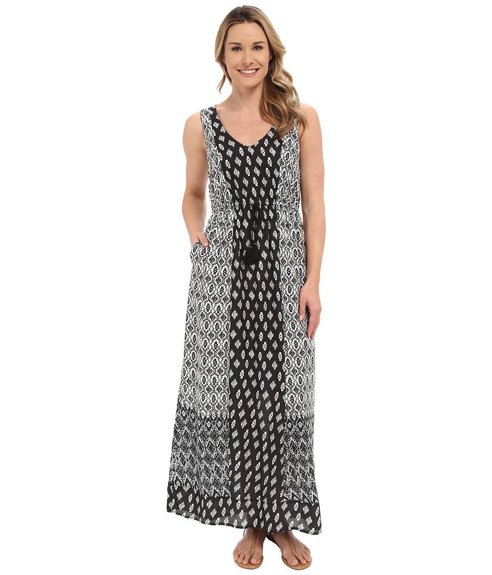 Lucky Brand Woodblock Mixed Dress Black Multi Womens Dress
