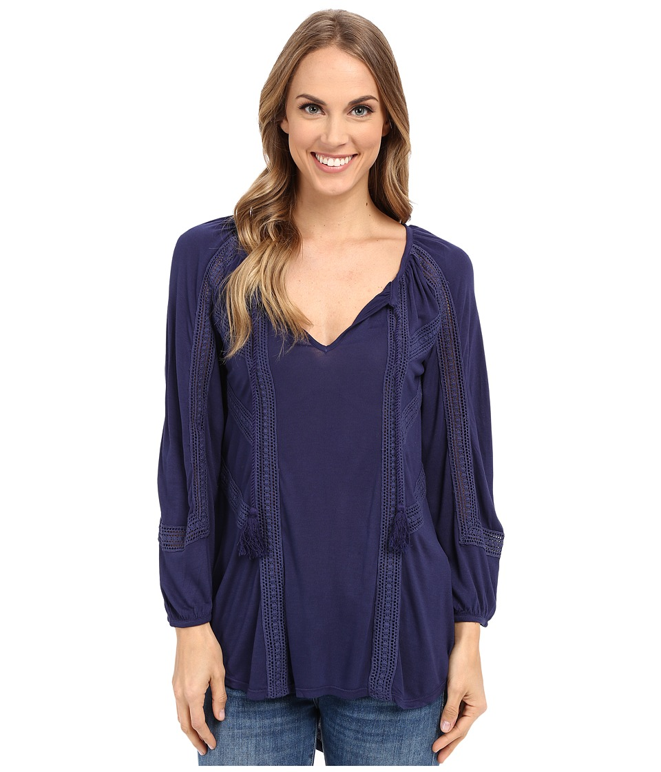 Lucky Brand Lace Mixed Peasant Top Eclipse Womens Clothing
