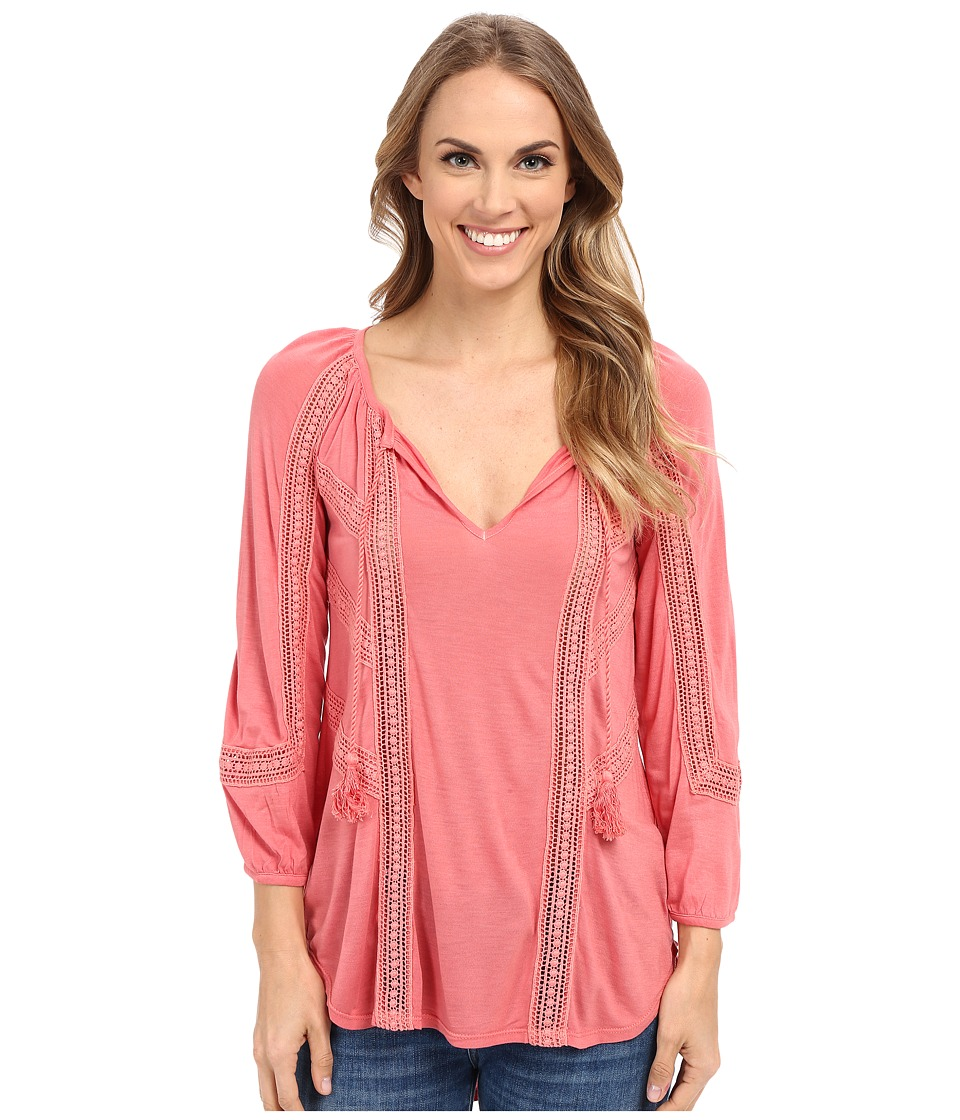 Lucky Brand Lace Mixed Peasant Top Faded Rose Womens Clothing