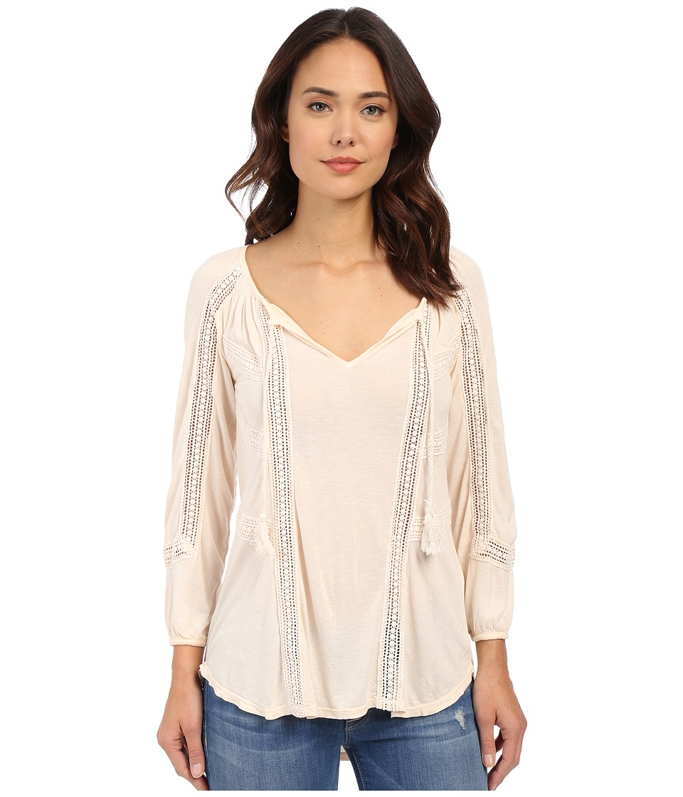 Lucky Brand Lace Mixed Peasant Top Pale Dogwood Womens Clothing