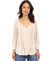 Lucky Brand - Lace Mixed Peasant Top