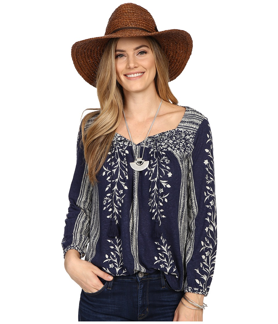 Lucky Brand Mixed Print Top Navy Multi Womens Clothing