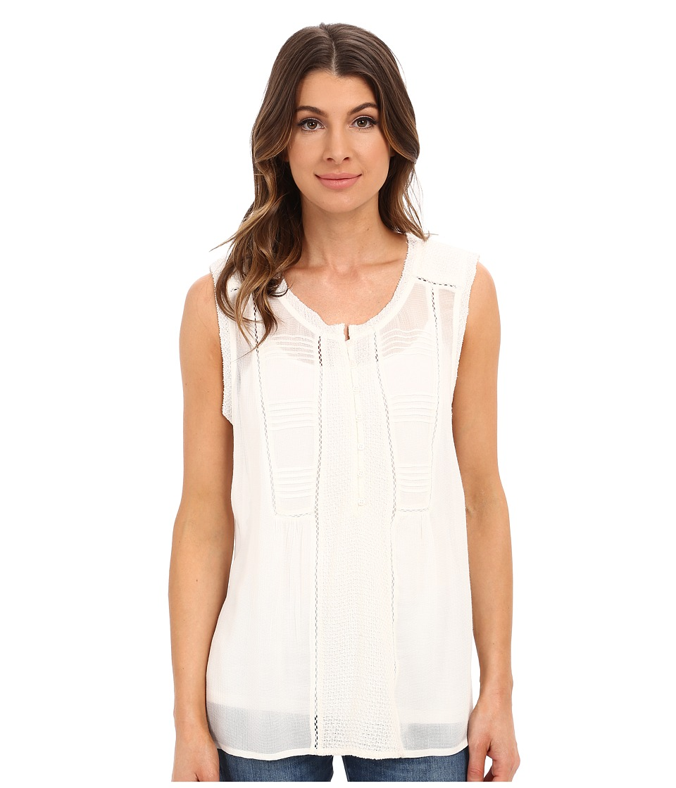 Lucky Brand Mixed Fabric Top Whisper White Womens Blouse