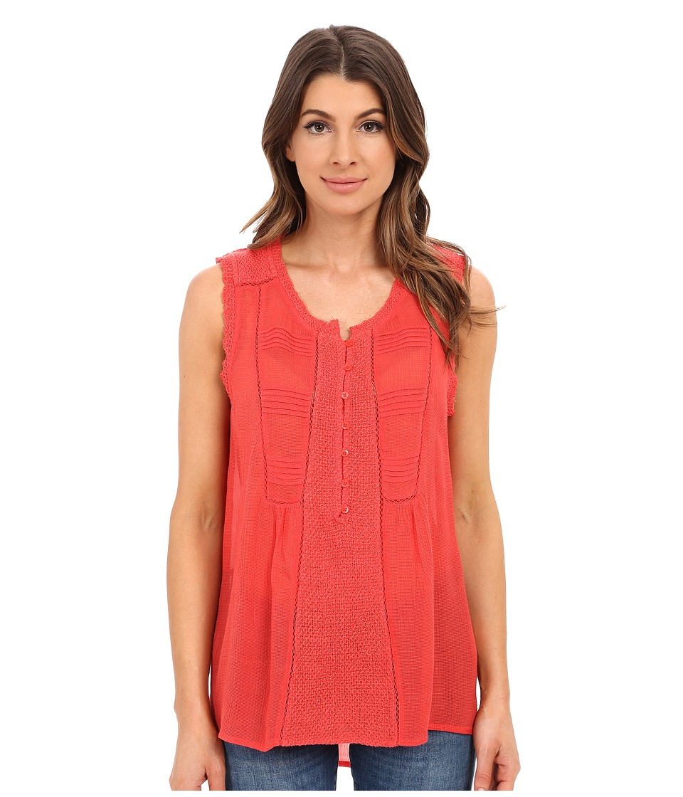 Lucky Brand Mixed Fabric Top Bittersweet Red Womens Blouse