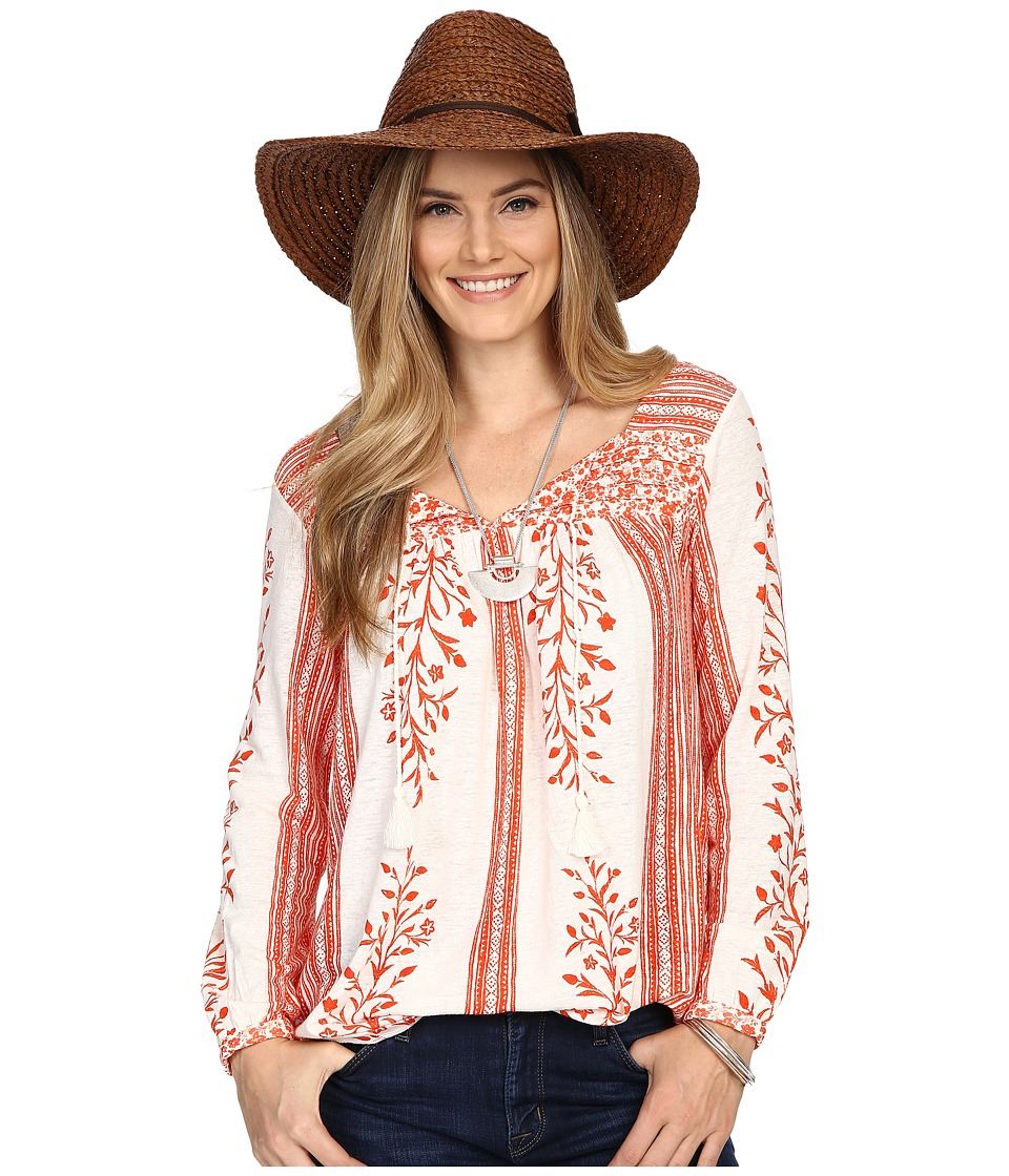 Lucky Brand Mixed Print Top Red Multi Womens Clothing