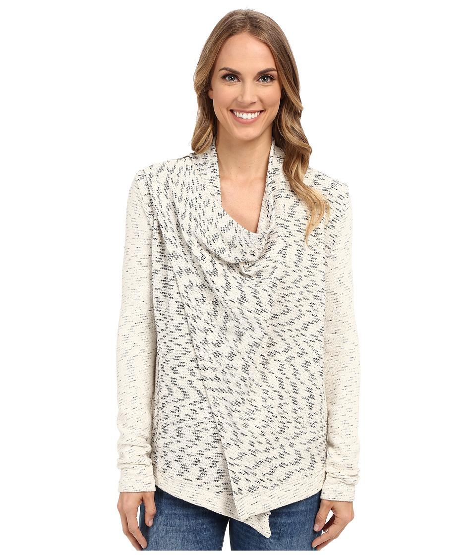 Lucky Brand Drape Front Jacket Cream Multi Womens Sweater