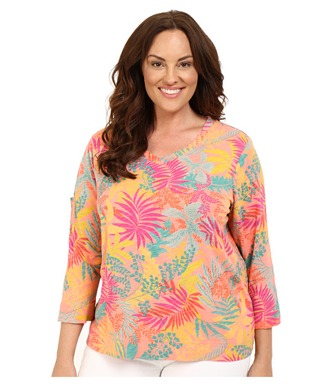 Fresh Produce - Plus Size Vintage Palm Heritage 3/4 Sleeve Top (Melon Sherbet) Women's Clothing
