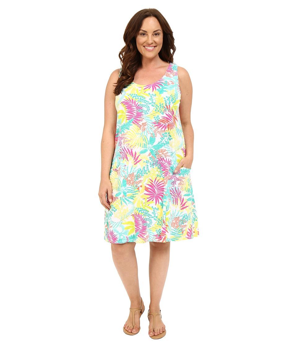 Fresh Produce Plus Size Vintage Palm Drape Dress White Womens Dress
