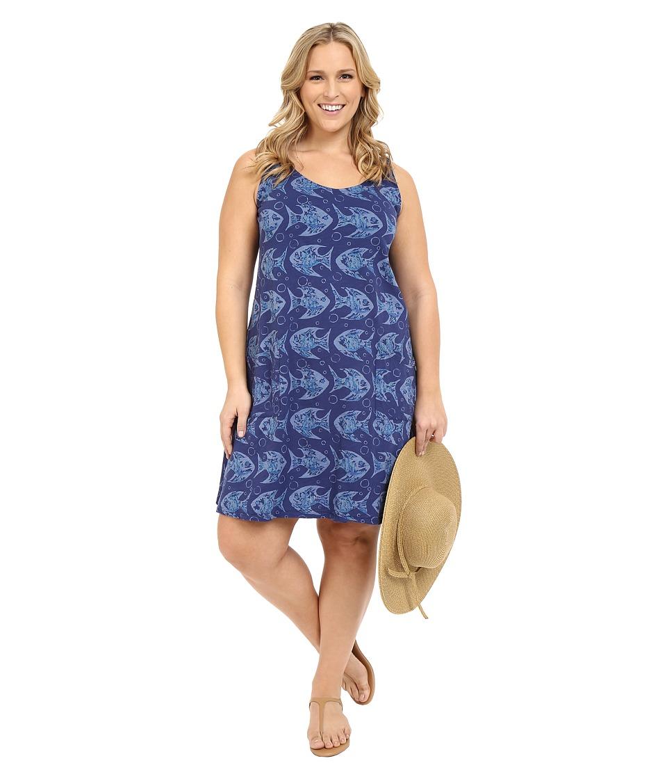 Fresh Produce Plus Size Watercolor Fish Drape Dress Moonlight Womens Dress