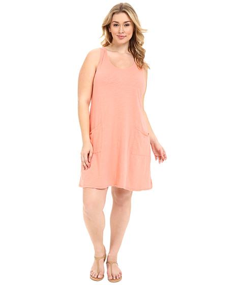 Fresh Produce - Plus Size Drape Dress (Melon Sherbet) Women's Dress