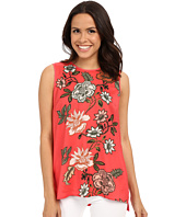 Vince Camuto - Sleeveless Top w/ Floral Portrait Woven Front