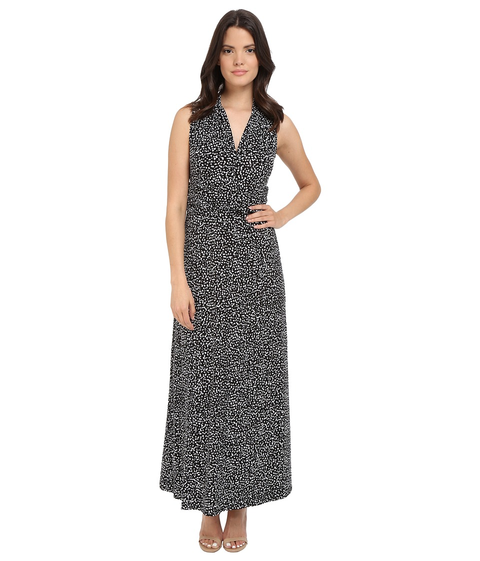Vince Camuto Sleeveless Speckle Graphic Halter Maxi Dress Rich Black Womens Dress