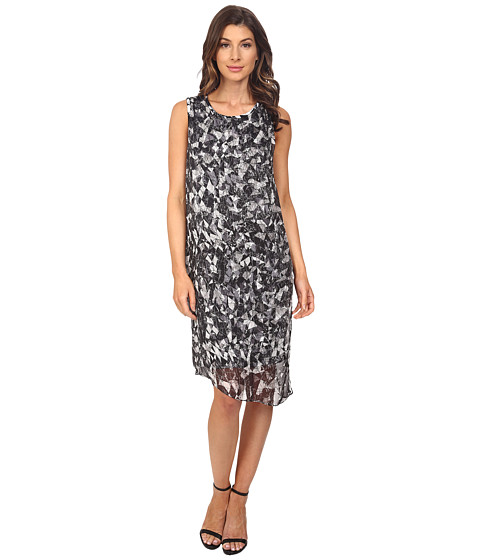 Vince Camuto Sleeveless Broken Prism Dress w/ Chiffon Overlay