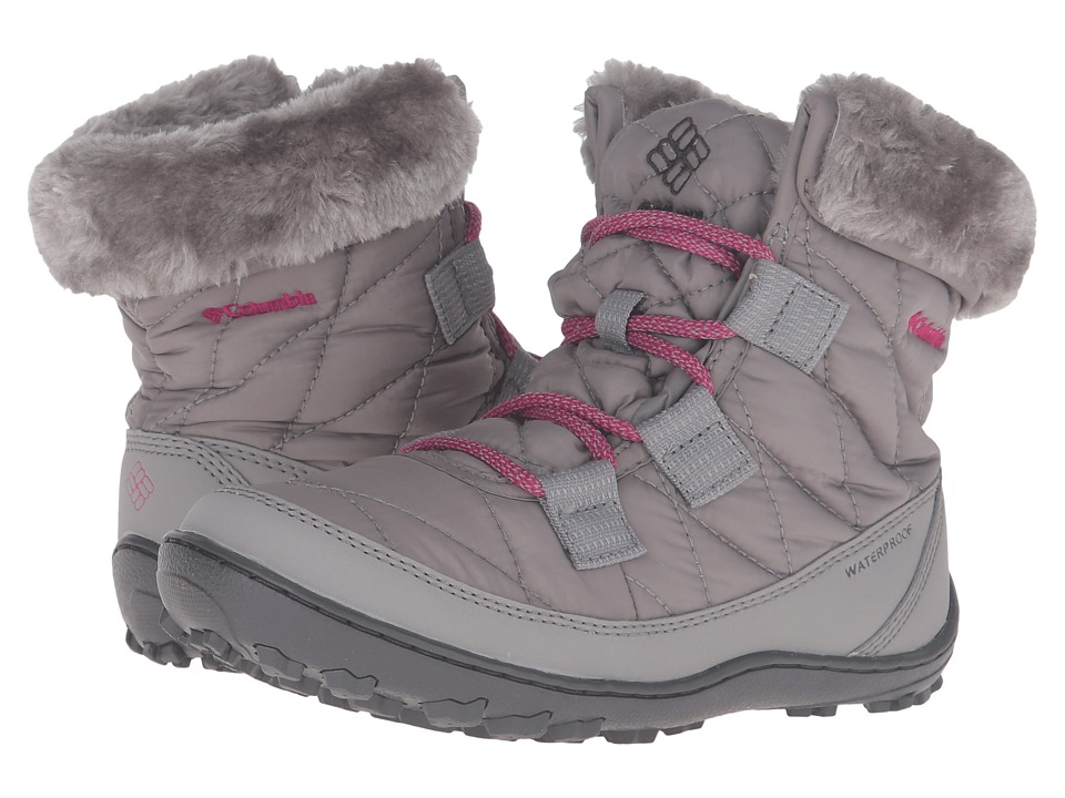 Columbia Kids - Minx Shorty Omni-Heat Waterproof (Little Kid/Big Kid) (Light Grey/Deep Blush) Kids Shoes