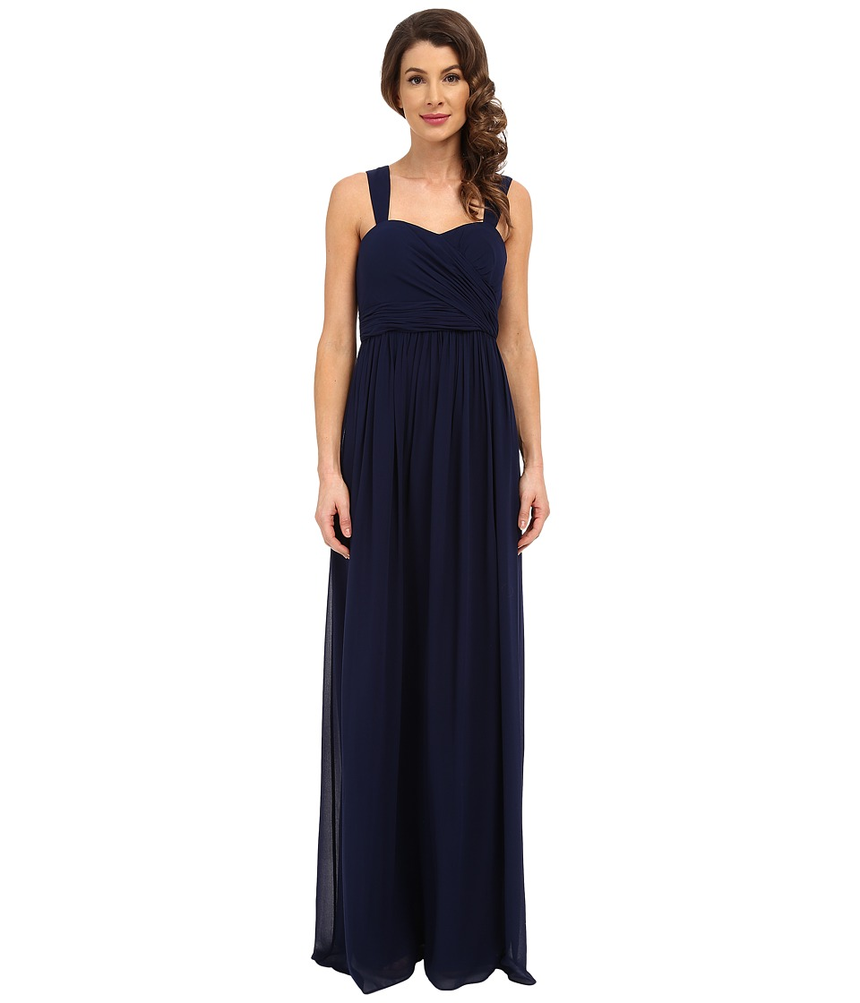 Donna Morgan Bailey Draped Side Strapped Gown (Midnight) Women