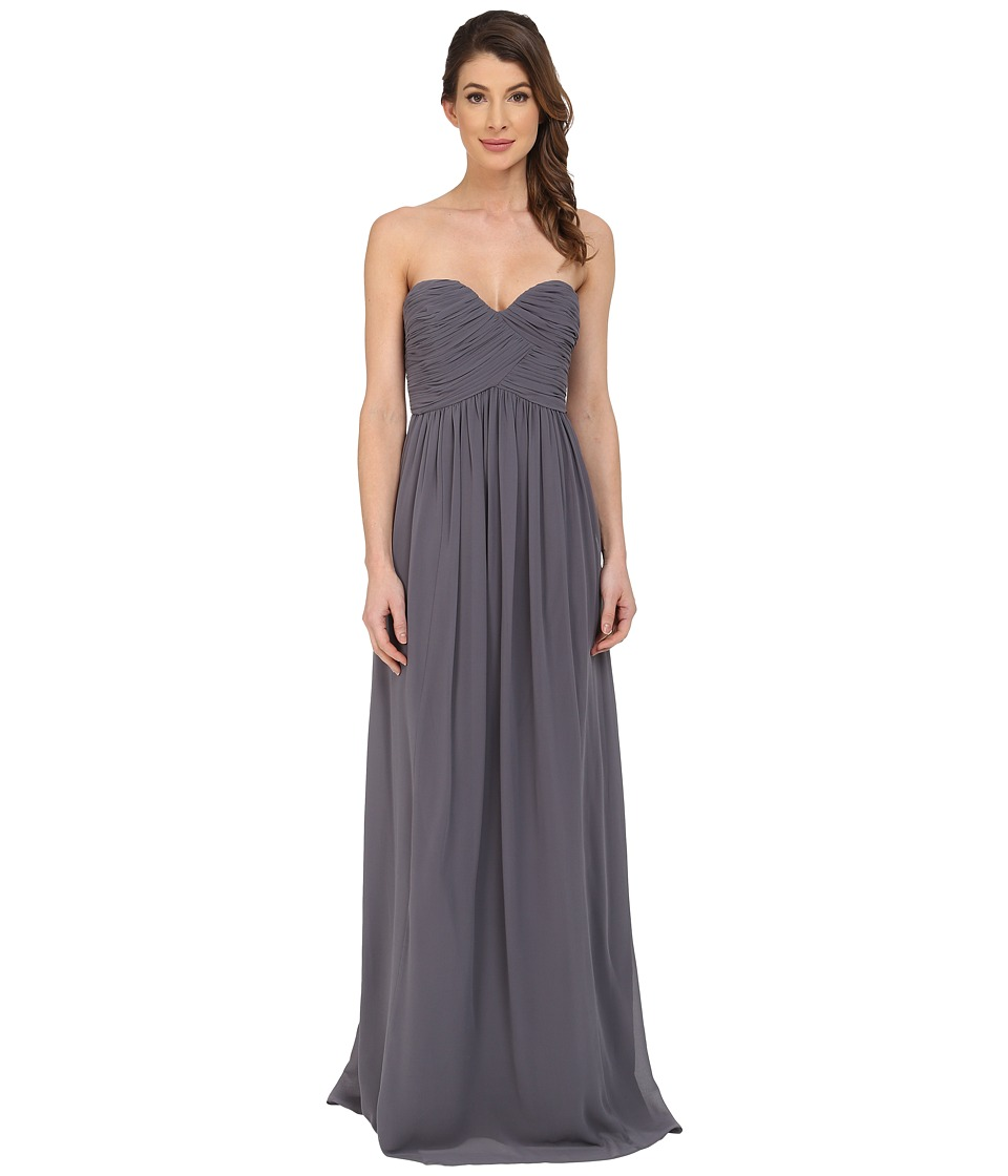 Donna Morgan Laura Long Chiffon Gown Dress (Charcoal) Women