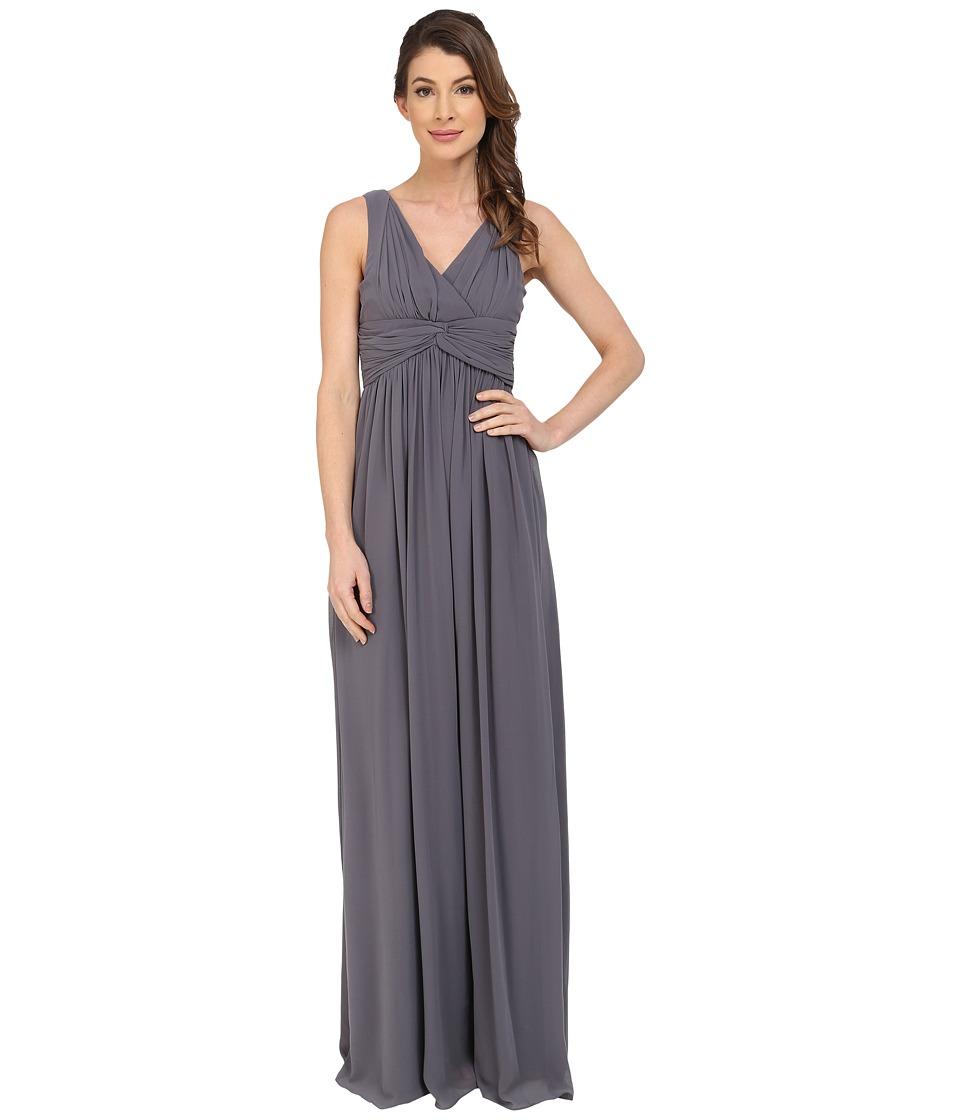 Donna Morgan Julie Long Bra Friendly Chiffon Dress (Charcoal) Women