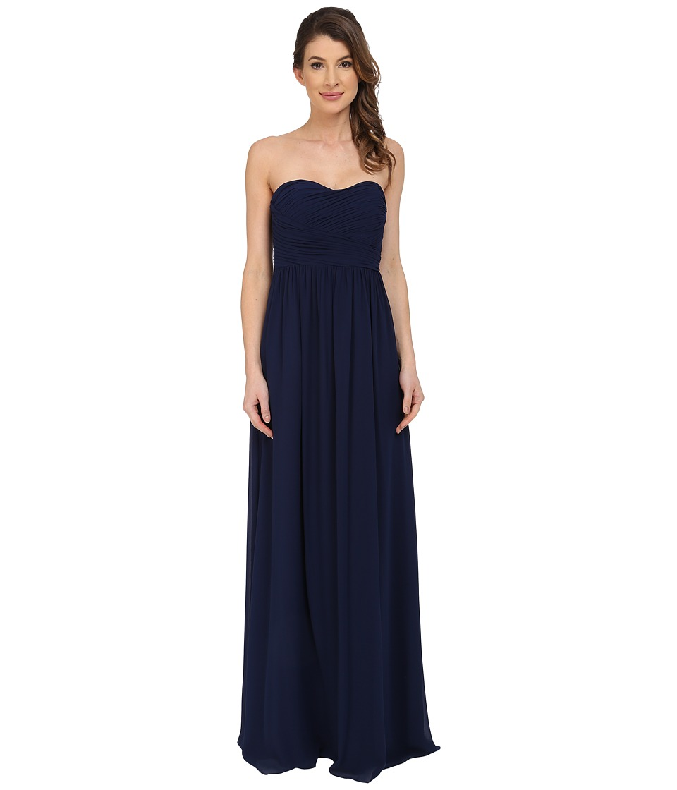 Donna Morgan Stephanie Strapless Chiffon Gown (Midnight) ...