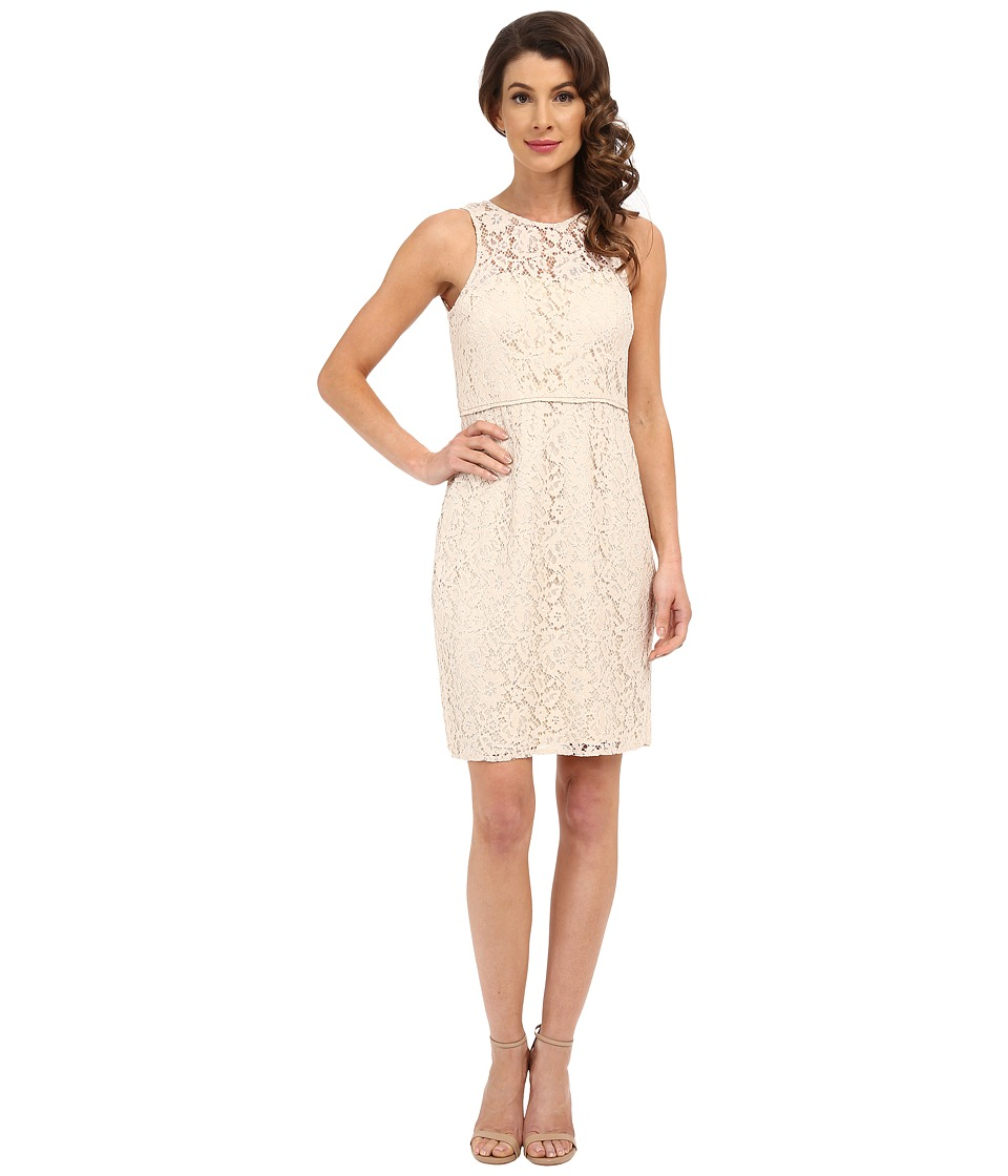 Donna Morgan Harlow Illusion Neck Lace Short Dress (Fawn) Women