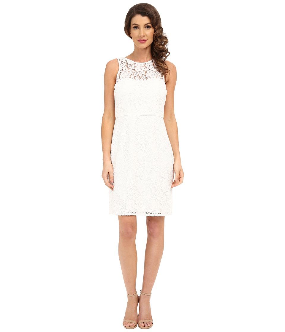 Donna Morgan Harlow Illusion Neck Lace Short Dress (Ivory) Women