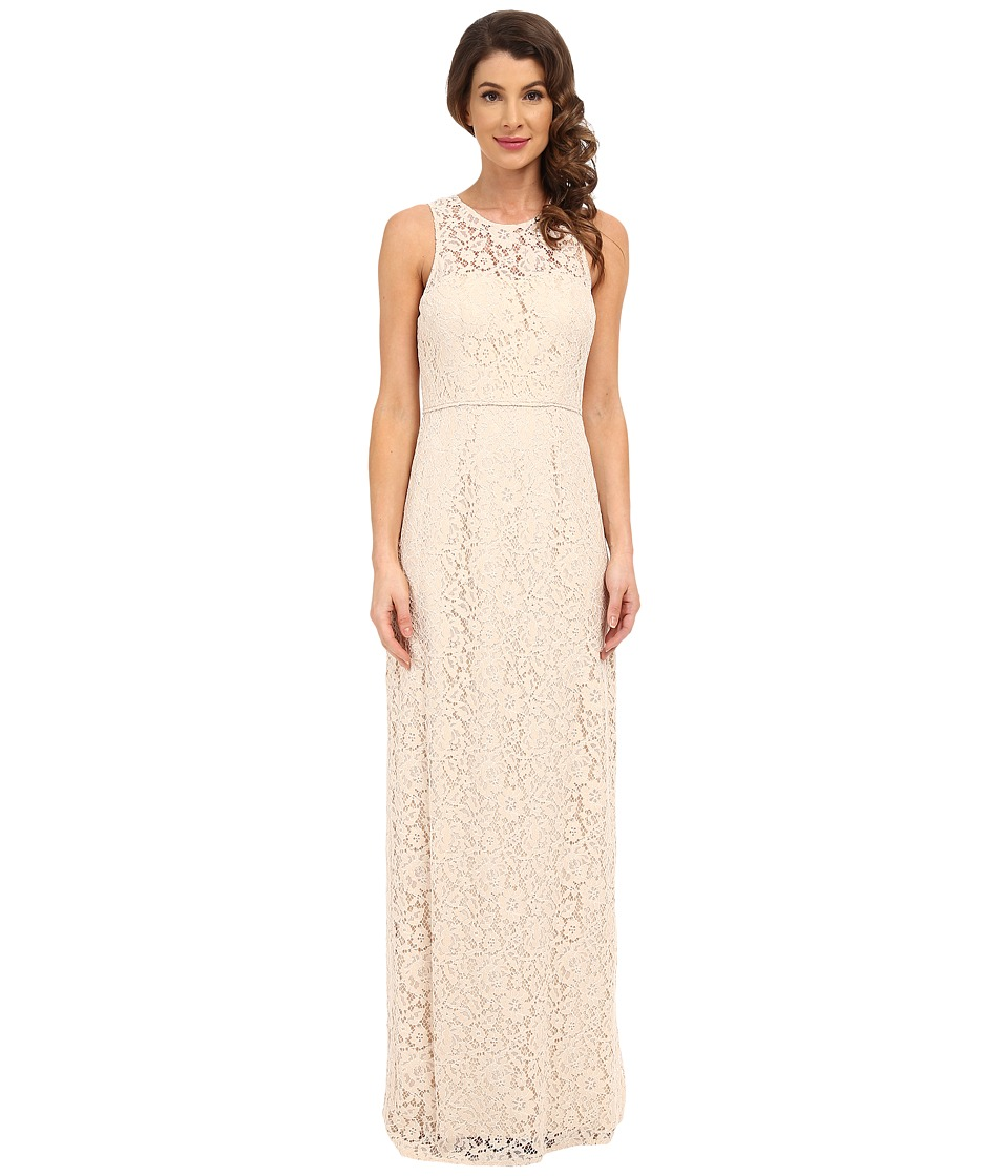 Donna Morgan Harper Illusion Neck Lace Long Gown (Fawn) Women