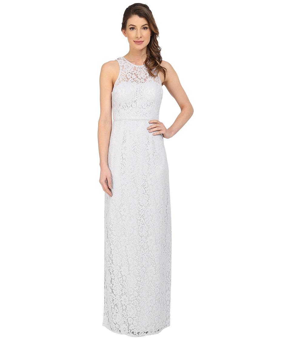 Donna Morgan Harper Illusion Neck Lace Long Gown (Platinum) Women