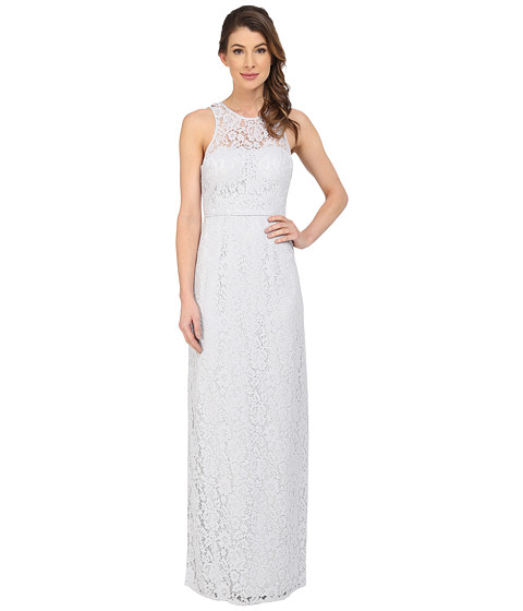 Donna Morgan Harper Illusion Neck Lace Long Gown