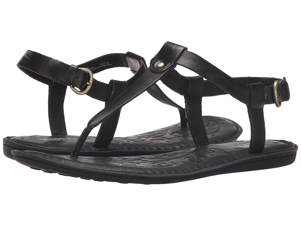 Born Lo Black Full Grain Leather Womens Sandals