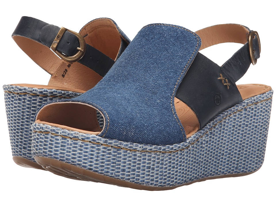 Born Aubyrn Denim Textile Womens Wedge Shoes