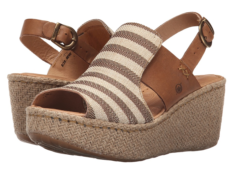Born Aubyrn Brown Textile Womens Wedge Shoes