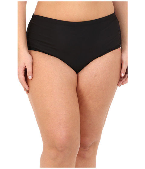 Athena Plus Size Cabana Solids Mid Waist Shirr Side Pants