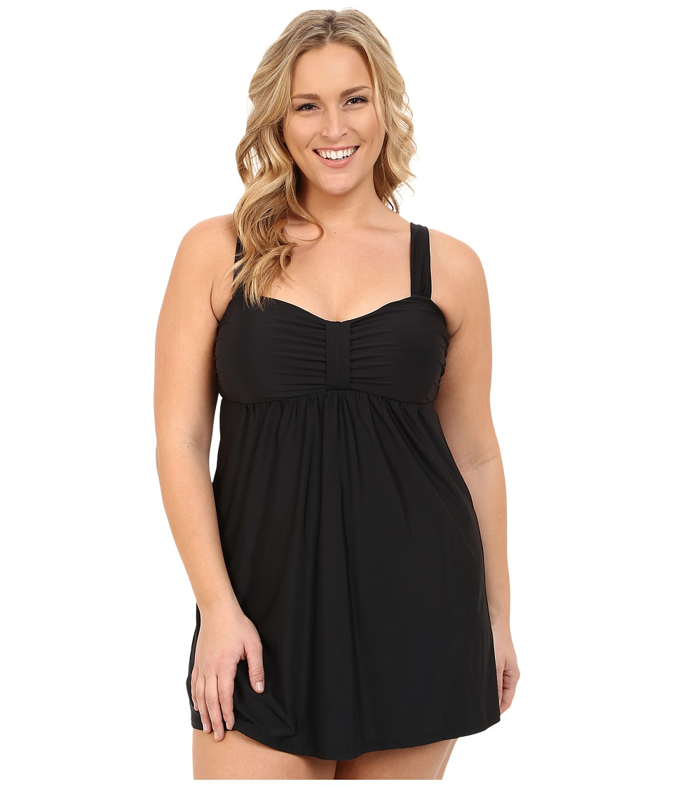 Athena Plus Size Cabana Solids Molded Cup Swim Dress w/ Hidden Hook and Eye Tail One Piece Black Womens Swimsuits One Piece