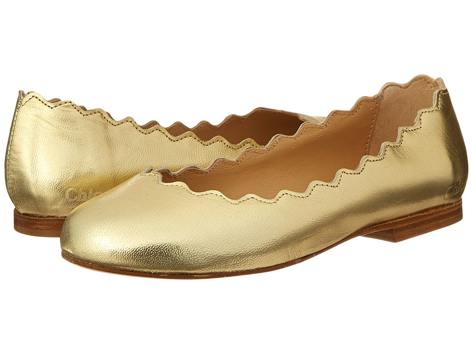 Chloe Kids Leather Ballerinas Toddler/Little Kids/Big Kids Gold Girls Shoes