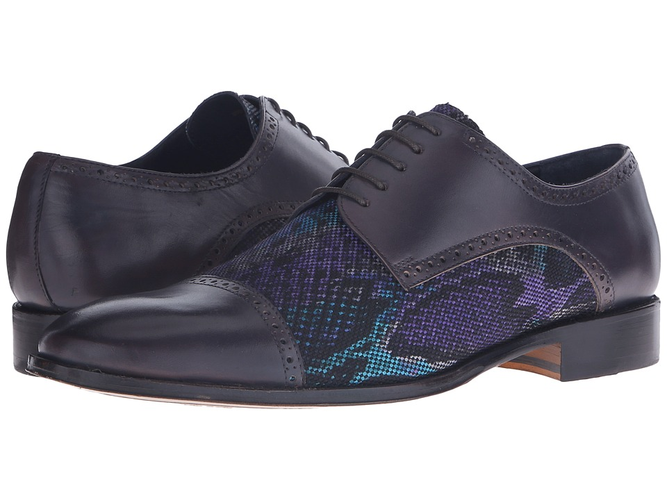 Messico Higino Grey Print Textile/Grey Leather Mens Shoes