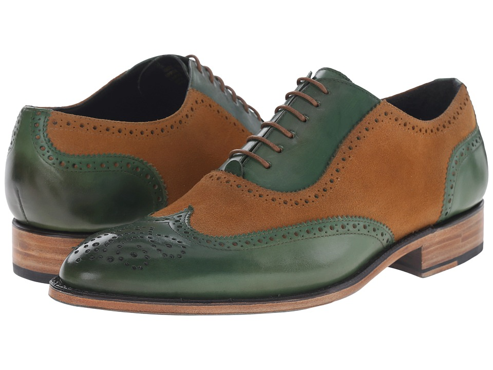 Messico - Ferrucio Welt Honey SuedeGreen Leather Mens Shoes $145.00 AT vintagedancer.com
