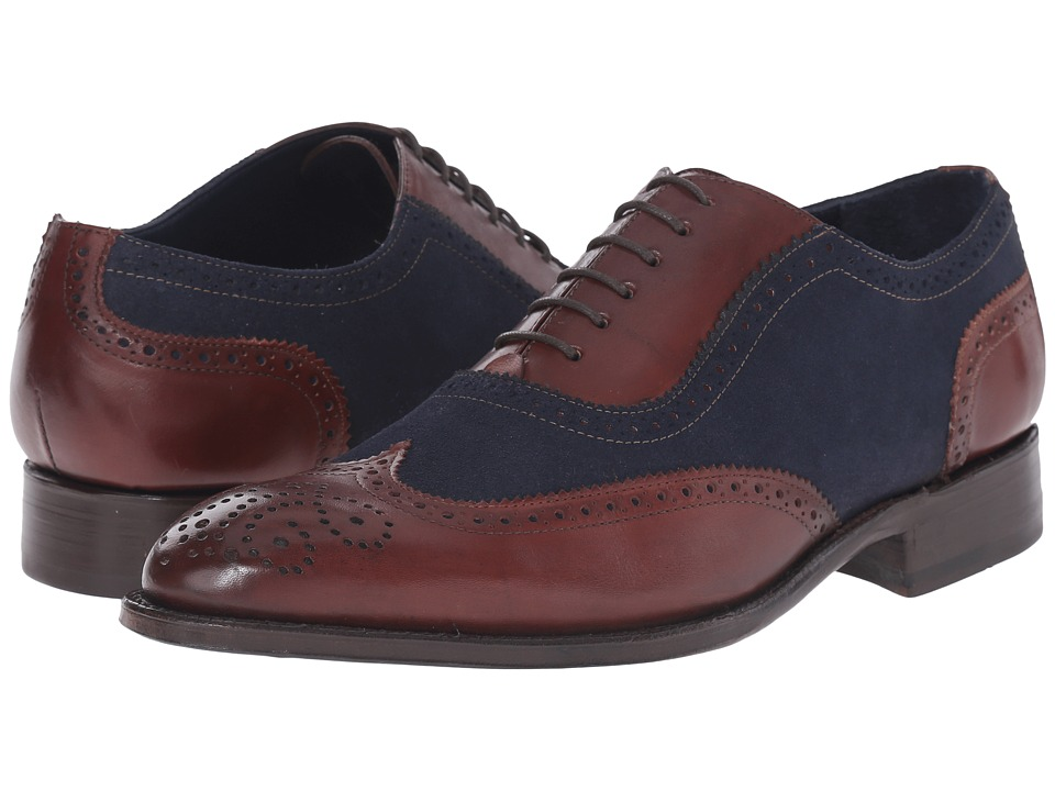 Messico Ferrucio Welt Blue Suede/Cognac Leather Mens Shoes