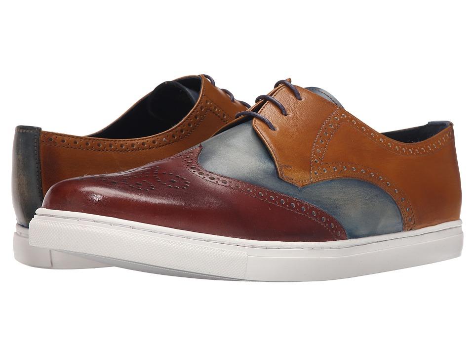Messico Borja Cognac/Vintage Blue/Honey Leather Mens Lace up casual Shoes