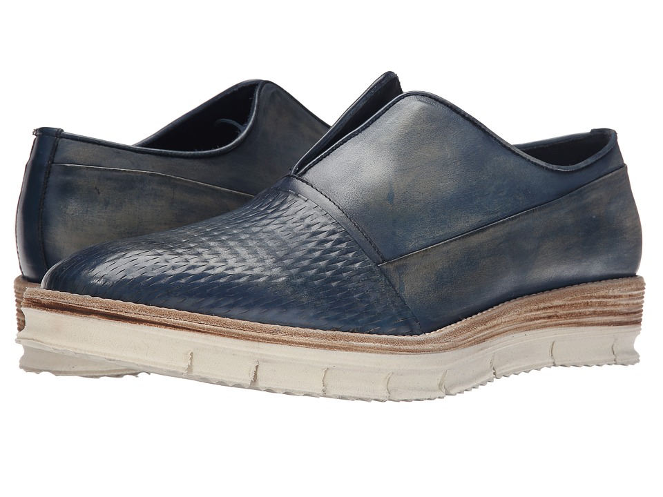 Messico Gelo Vintage Blue Leather Mens Slip on Shoes