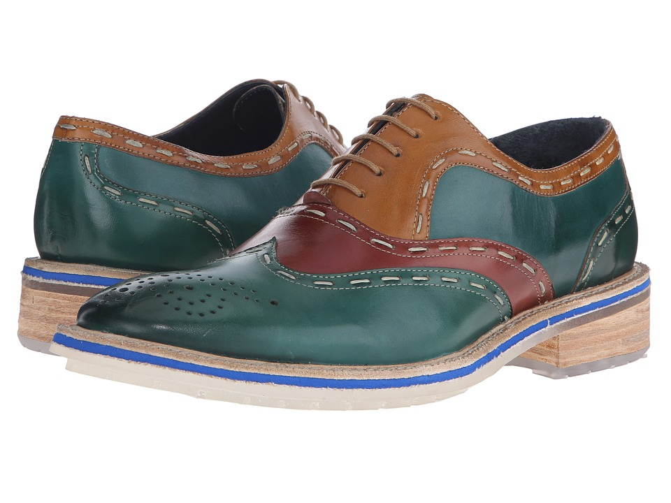 Messico Emanuel Green/Cognac/Yellow Leather Mens Shoes