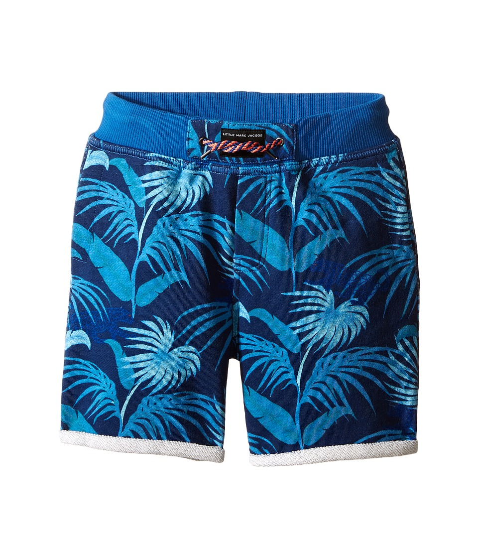 Little Marc Jacobs Fleece Shorts Jungle Print Toddler/Little Kids Blue Boys Shorts